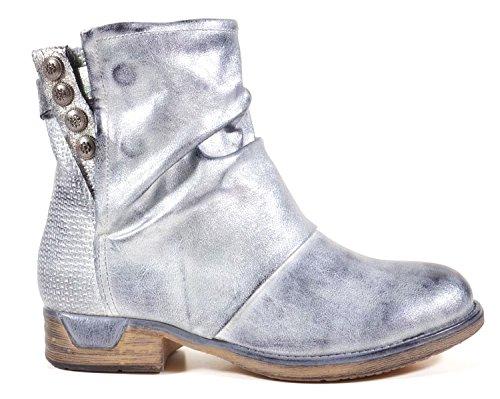 480e74bd8b17 Damen Stiefeletten Biker Boots Nieten Schnallen Knöchelhohe Stiefel Leder-Optik  QBZ04 Silber