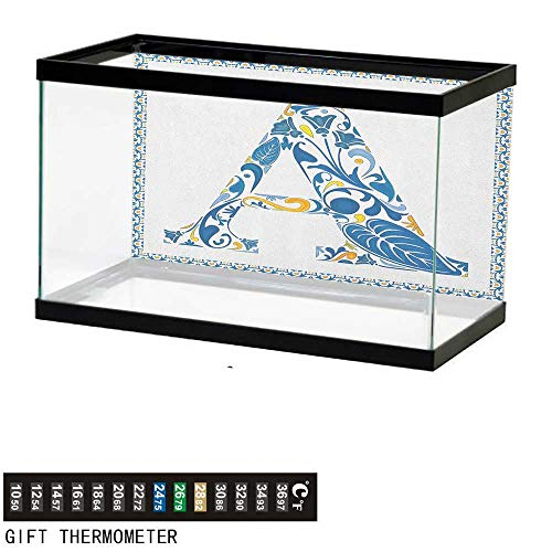 (Jinguizi Letter AAquarium BackgroundAbstract Geometric Frame with The Letter A Swirls Leafs and Flowers Print48 L X 20