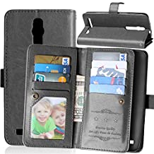 Zenfone 2 5.5 Case,Gift_Source [Multi Card Wallet] [Photo card slots] Premium Magnetic PU Leather Wallet with Built-in 9 Card Slots Folio Flip Case For ASUS zenfone 2 5.5 inch ZE550ML/ZE551ML [Balck]