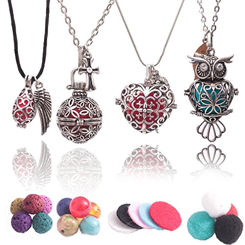 Aromatherapy Essential Oil Diffuser Necklaces: Premium Owl, Heart, Teardrop and Round Designs with Lava Rock, Cotton Beads and Pads.