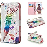 """Amocase Wallet Case with 2 in 1 Stylus for iPhone 7 Plus/8 Plus 5.5"""",Luxury 3D Pencil Music Notes Art Printed Scratch Resistant Magnetic Kickstand Full Body Soft Silicone Strap PU Leather Case"""