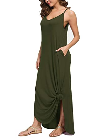 4ed2be7d lantusi Women Casual Cotton Dress Solid Color Pockets Decor Loose Sling  Long Dress Dresses Army Green