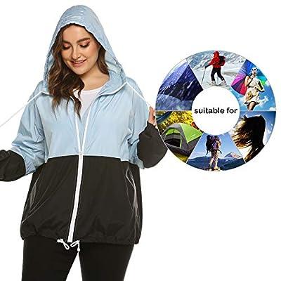 IN'VOLAND Women's Plus Size Raincoat Rain Jacket Lightweight Waterproof Coat Jacket Windbreaker with Hooded: Clothing