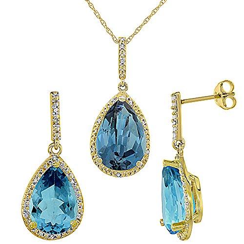 Jewellery World Bague en or jaune 9carats Pendentif Poire Topaze Bleu Londres forme naturelle et Accents de diamants boucles d'oreilles