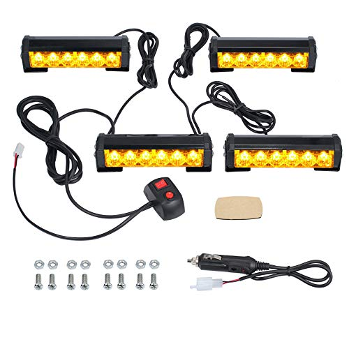 Justech 4PCS 6LEDs Strobe Lights Amber Hazard Warning Beacon Lights with Car Charger Emergency Lights Flashing Warning Light 12V 24V Universal for Car Vehicle Truck Trailer Caravan Camper Van