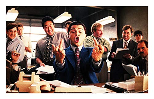 NATVVA Wall Art Wolf of Wall Street Movie Poster Canvas Painting Modern Art Picture Print Gifts Artist Home Decor Artwork for Living Room Bed Room Wall Decoration No Frame