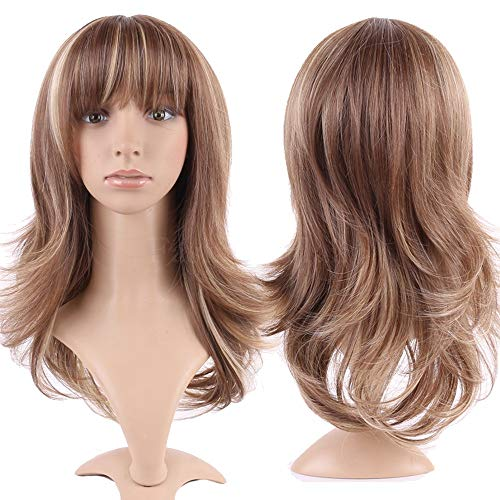S-noilite Long Layer Straight Wigs with Bangs Women Natural Ombre Heat Resistant Synthetic Hair Full Head Wig Cosplay Party Costume,15inch,Light Brown Blonde Mix