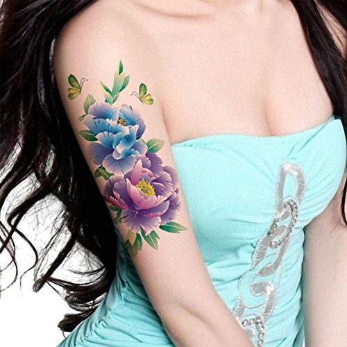 Temporary Tattoos Five - TAFLY Butterfly Large Peony Flower Body Art Temporary Tattoo Transfer Sticker 5 Sheets