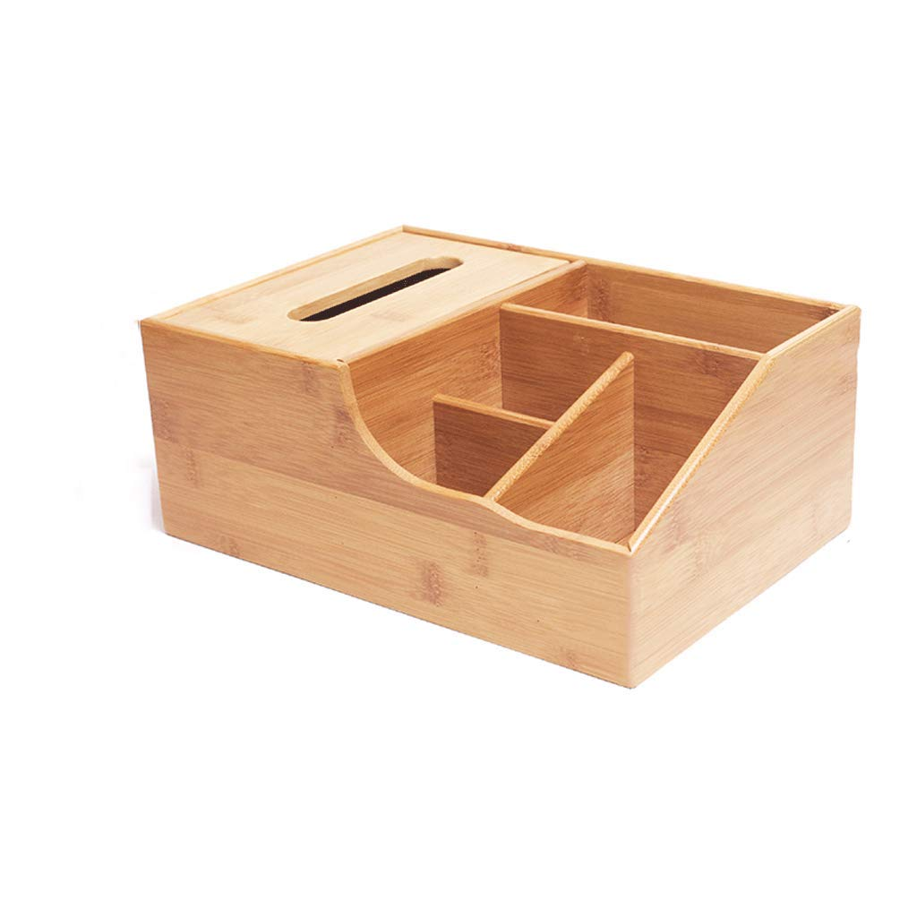 ZYN Wooden Tissue Box- Multifunction Tray Living Room Home Remote Control Desktop Storage Box Bamboo (Size : 28 × 19.6 × 11.2CM)