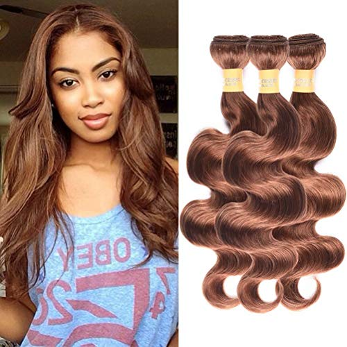Wome Hair Products Cheap Brazilian Virgin Remy Hair 30# Ombre Body Wave Color Curly Weave Soft Hair Wefts 3 Bundles Total 300g (Light Auburn #30,14