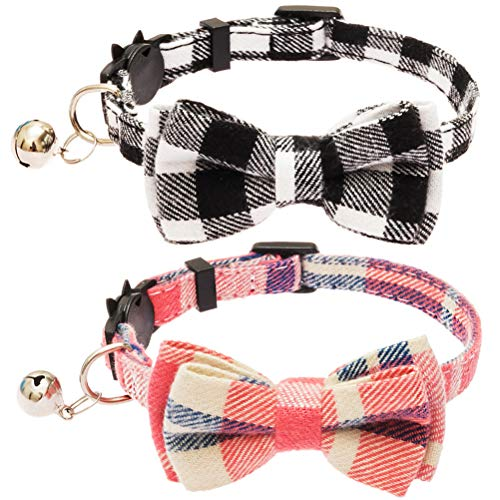 (OFPUPPY 2 Pack/Set Cat Collar Plaid Breakaway with Bell - Bowtie Style for Kitty Adjustable 7.8-10.2