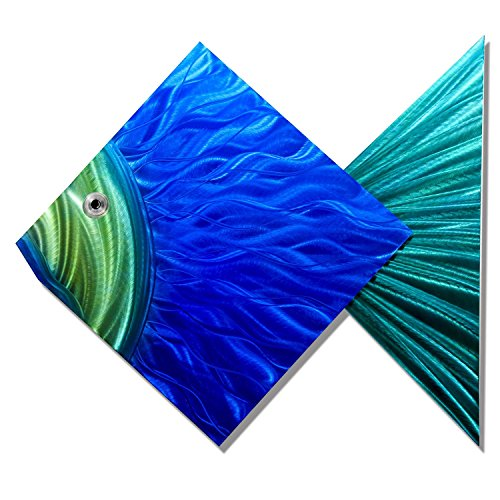 Statements2000 Large Hand-Painted Decorative Tropical Fish Metal Wall Sculpture by Jon Allen Metal Art, Blue & Green