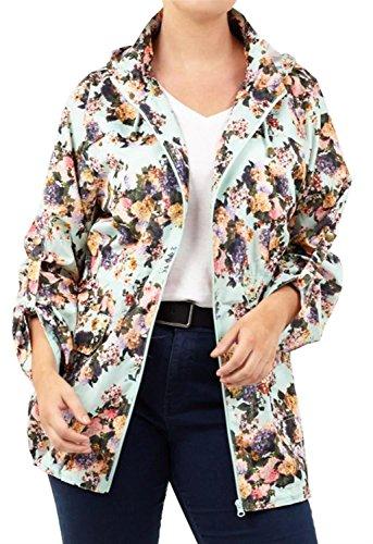 Vestes Impression Aqua Dames Mac Capuchon Nouveau Fishtail 36 Imperméable 52 Polyester Floral À qpwfzS