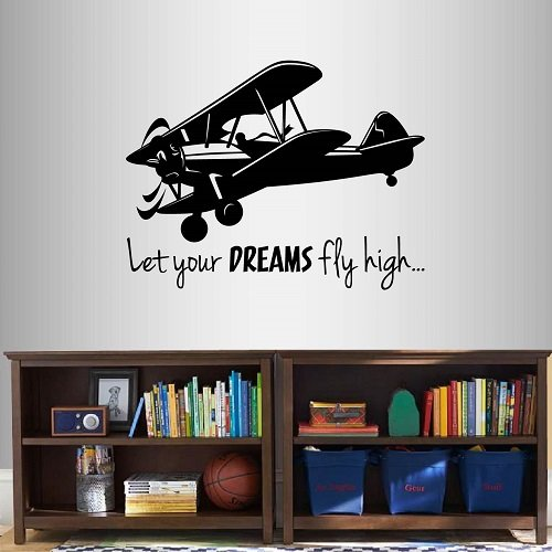 Wall Vinyl Decal Home Decor Art Sticker Let Your Dreams Fly High… Phrase Quote Lettering Retro Airplane Biplane Aircraft Flying Air Sky Kids Boys Room Removable Stylish Mural Unique Design