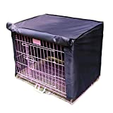 Pet Crate Kennel Cover, Indoor/Outdoor Polyester Windproof and Waterproof Dog Cat House Cage Cover (M, Black)