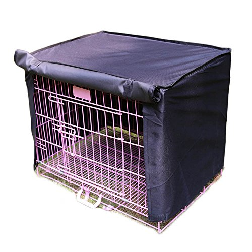 Pet Crate Kennel Cover, Indoor/Outdoor Polyester Windproof and Waterproof Dog Cat House Cage Cover (L, Black) by CAZZO