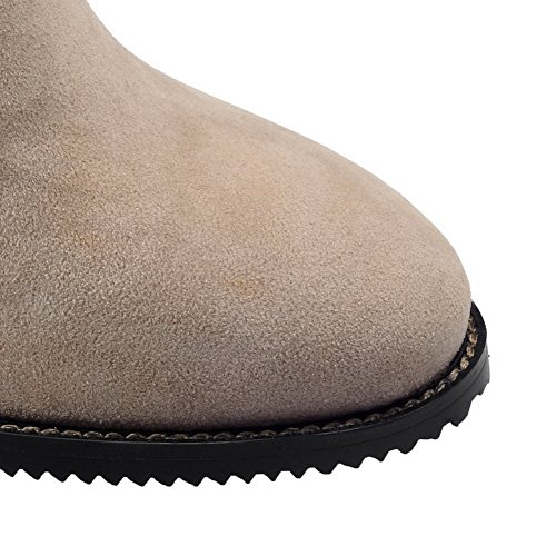 Balamasa Dames Dikke Hak Gesp Rits Frosted Boots Beige