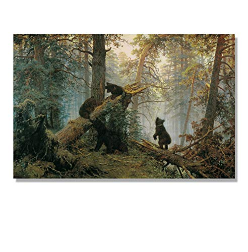 Eliteart- Morning Black Bears Pine Forest by Ivan Shishkin Oil Painting Reproduction Giclee Wall Art Canvas Prints