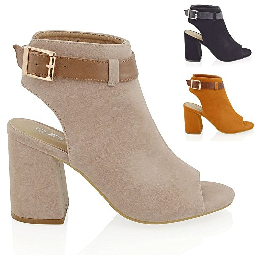 Essex Glam Women's Peep Toe Cut Out Open Back Block Heel Faux Suede Shoe Boots