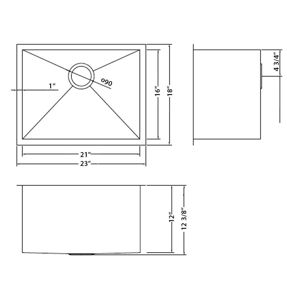 RVU6100 Renewed Ruvati 23 x 18 x 12 Deep Laundry Utility Sink Undermount 16 Gauge Stainless Steel