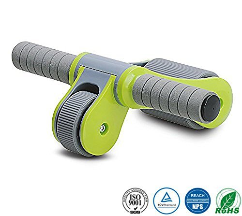 JoP Portable Abdominal Roller Simple Assembly Foldable Abs Roller, Core Muscle Toning Home/Gym/Travel Workout Ab Wheel Roller (Green)