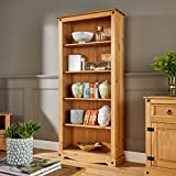 Home Source Tall Pine Bookcase 5 Book Shelves Corona Mexican Solid Wood Living Room