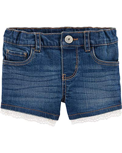 Osh Kosh Girls' Little Denim Shorts, Eyelet Blue Sky Wash, 7