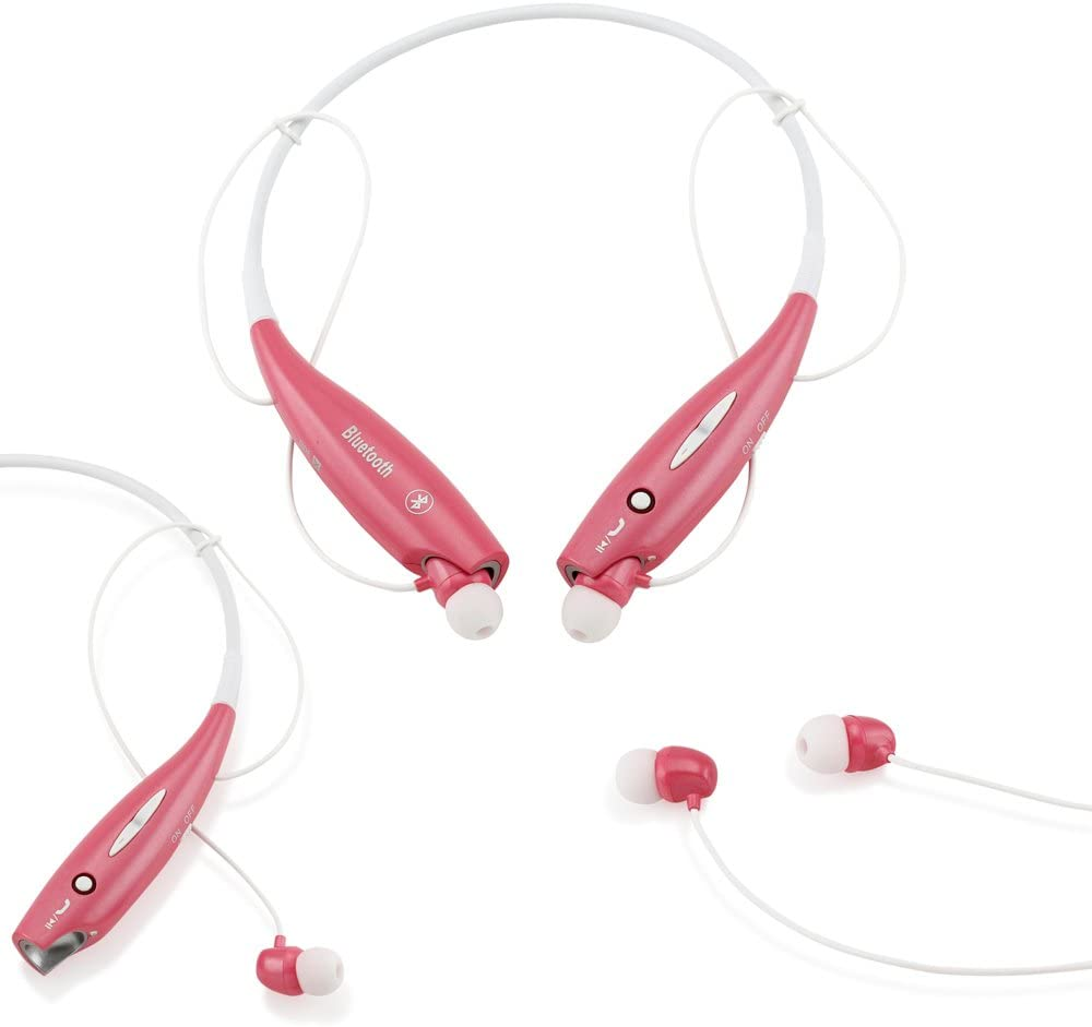 GEARONIC TM Wireless Sport Stereo Headset Bluetooth Earphone Headphone Compatible with Android or iPhone Pink