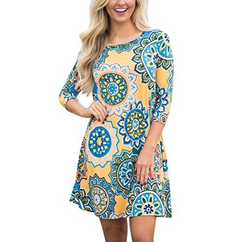 WYTong Clearance Womens Vintage Printed Boho Dress Long Sleeve Crewneck Mini Dresses for Party Beach (Asian:XL, Yellow)