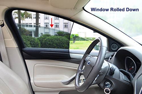 - Bayan Car Front Side Window Sunshades Driver Side Window Sun Shade-Intended for Most Sedans-Reduce 43ºF Cut 94% UVA and 99% UVB-2 Pack