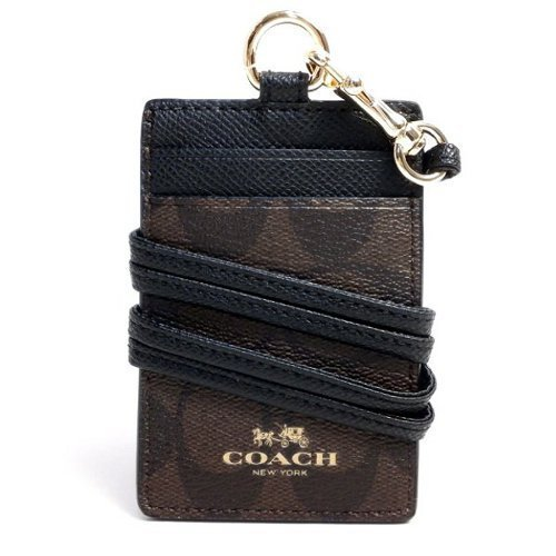 COACH Women's Outlet Card Case Embossed Pattern Lanyard Id Identification Cases One Size Brown/Black by Coach