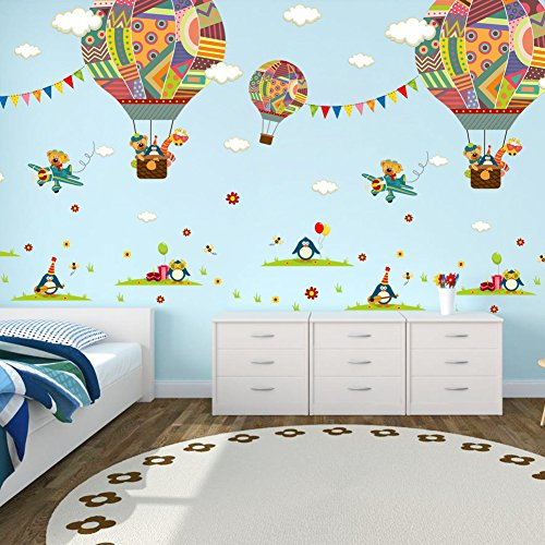 ElecMotive Penguins Clouds Bear Giraffe on Colorful Balloons Decorative Peel & Stick Wall Art Sticker Decals Kids Boys Nursery Wall Art Room Decor (Colorful Balloons) - Decorative Wall Murals