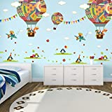 ElecMotive Penguins Clouds Bear Giraffe on Colorful Balloons Decorative Peel & Stick Wall Art Sticker Decals Kids Boys Nursery Wall Art Room Decor (Colorful Balloons)