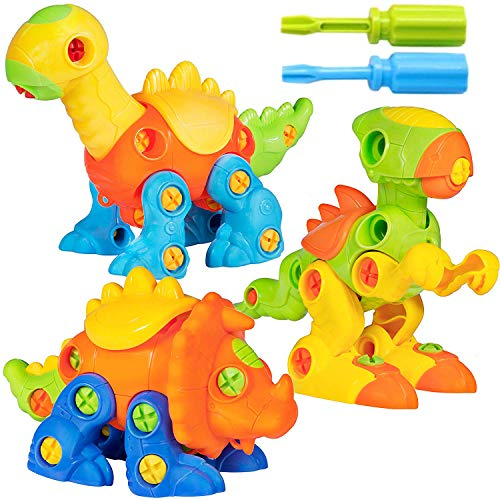 Liberty Imports Build-A-Dino Take Apart Dinosaur Toys | 106-Piece Set of 3 Construction Engineering Building STEM Learning Kids Puzzle Playset with Tools and Screws