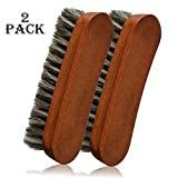 2PCS 6.7'' Horsehair Shoe Shine Brushes with Horse Hair Bristles for Boots, Shoes Handbags Coats Pants Sofa Furniture Clothes Leather Care, Brush for Polishing Cleaning Designer, Brown Color