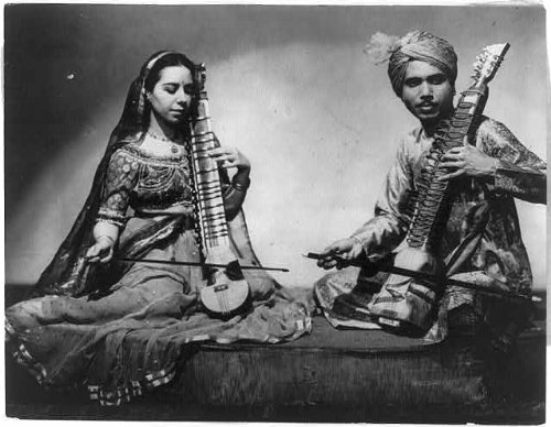 Folk Costumes Of India (Photo: Man,woman,Indian costume,playing music of India,National Folk Festival,1944)