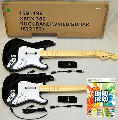 - 2 x NEW Wired Fender Stratocaster Guitar Controller & NEW BAND HERO XBox 360 Guitar Hero Video Game