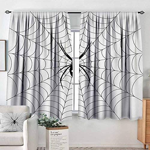 Spider Web Thermal Insulating Blackout Curtain Poisonous Bug Venom Thread Circular Cobweb Arachnid Cartoon Halloween Icon Thermal Blackout Curtains 55