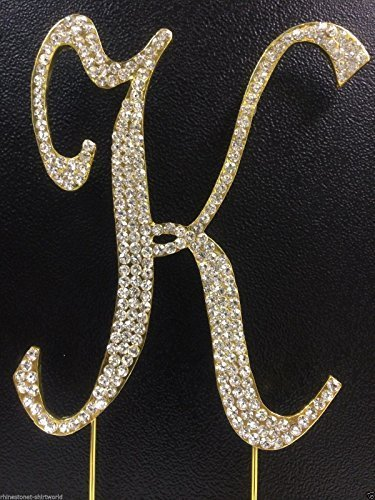 Crystal Rhinestone Covered Gold Monogram Wedding Cake Topper Letter K by other]()