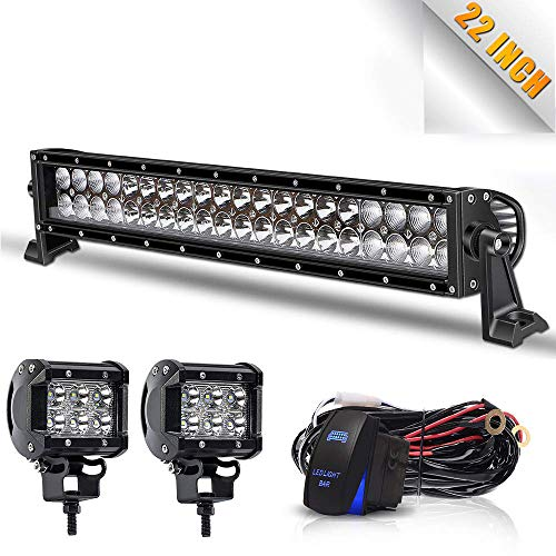 TURBO SII 22Inch 120W Led Light Bar Spot Flood Combo Led Bar 2PCS 4Inch 18W LED Pods Fog Lights with Wiring Harness Kit-3 Leads for Jeep Dodge Polaris RZR Ford Pickup ATV SUV Cars, 1 Year Warranty