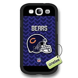 Personalize NFL Chicago Bears Team Logo Frosted Black Samsung Galaxy S3(i9300) Case Cover - Black