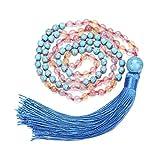 BOUTIQUELOVIN Blue Turquoise Semi Precious Stone Buddhist Prayer Bead Necklace with Long Tassel