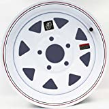 15'' x 5'' White Spoke Trailer Wheel with Red and Blue Pin Stripe (5-5'' Bolt Circle) with Center Cap and Valve Stem