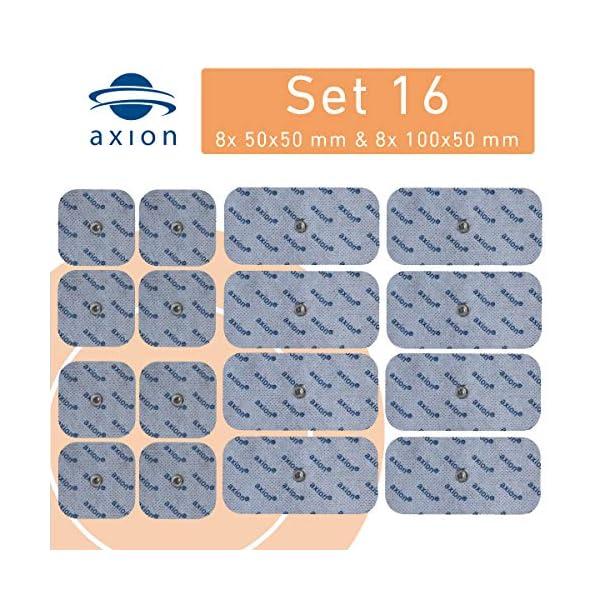 axion - Set di 16 elettrodi 8 da 10x5 cm e 8 da 5x5 cm compatibili con dispositivi BEURER & SANITAS elettrostimolatori con attacco a bottone da 3,5 mm 4 spesavip