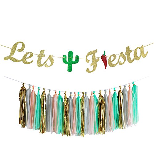 (Let's Fiesta Bachelorette Party Banner with Tassel Garland Cabo Bachelorette Mexico Bachelorette Theme Cactus Decor Mexican Theme Signs Bunting Garland Photo Booth Props Signs Sombrero Serape)