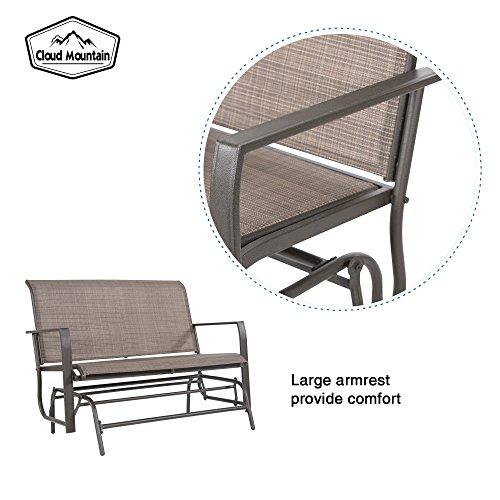 Cloud Mountain Patio Glider Bench Outdoor 2 Person Swing Loveseat Rocking Seating Patio Swing Rocker Lounge Glider Chair, Tan by Cloud Mountain (Image #5)