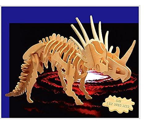 Amazoncom Wooden 3d Styracosaurus Puzzlelarge Dinosaur Puzzle