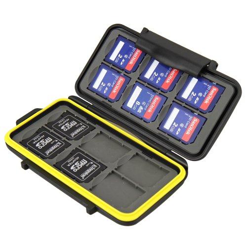 JJC MCSD12 Water-Resistant Holder Storage Memory Card Case for 12 SD Cards (Black)
