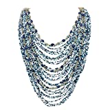 Bocar Multi-Layer Long Chain Chunky Bib Seed Beads Statement Necklace (NK-10410-tile Blue)