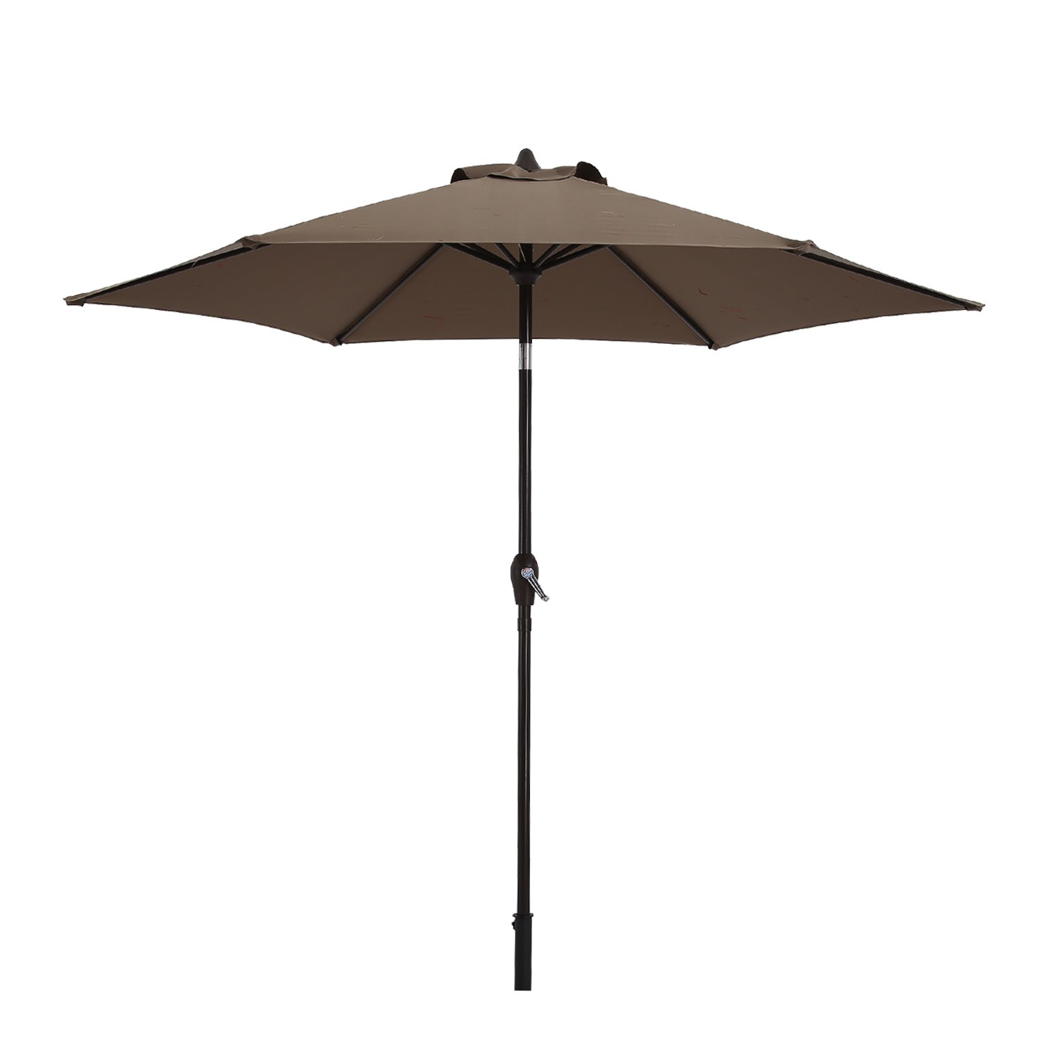 Paulla 9 Ft Patio Umbrella Outdoor Table Umbrella with Crank, 6 Ribs (Taupe)